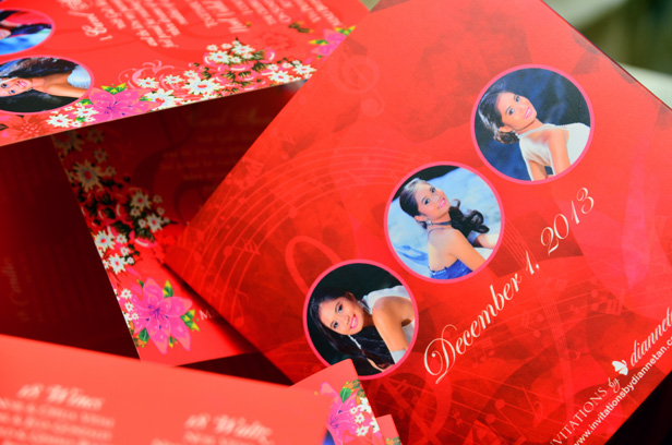 Carol Ann's Red Floral + Musical Themed Debut Trifold Invitations, Italy