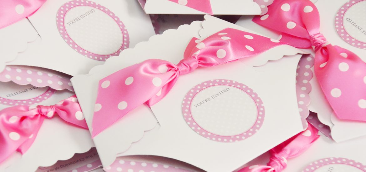 baby shower diaper invitations, polka dot themed, diaper invitations, pink polka dot themed invitations, polka dot ribbons