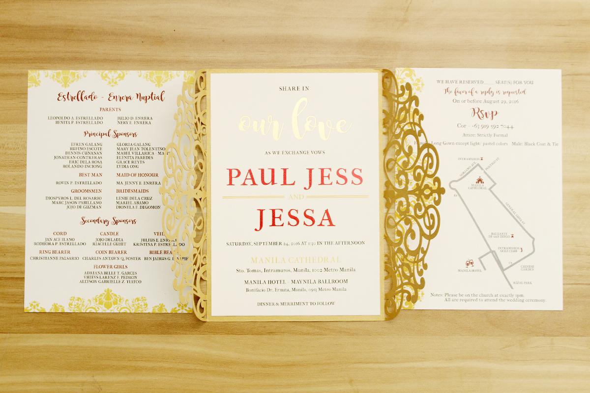 Gold Laser Cut Gatefold Wedding Invitations Philippines