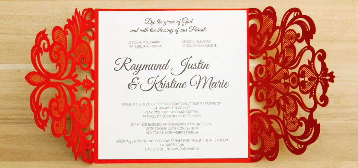 Red Laser Cut Wedding Invitations Philippines Invitations By