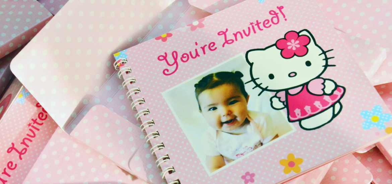 Serenity's Hello Kitty Themed 1st Birthday Scrapbook Invitations, Australia