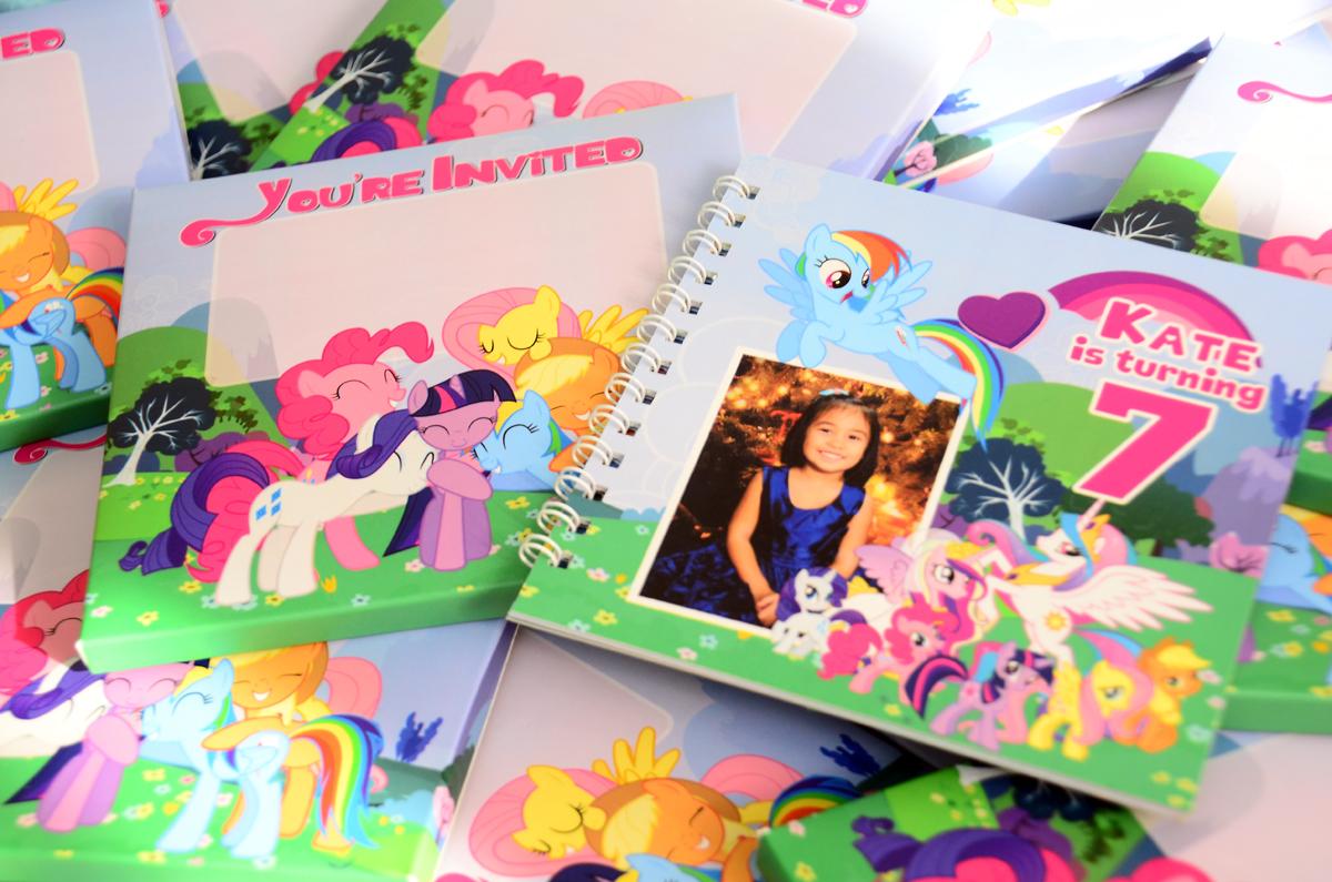my little pony theme party, my little pony invitations, my little pony birthday invitations, booklet invitations, book invitations, scrapbook invitations,