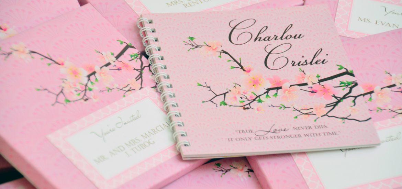 cherry blossom wedding invitations , cherry blossom themed wedding, wedding invitations, booklet invitations